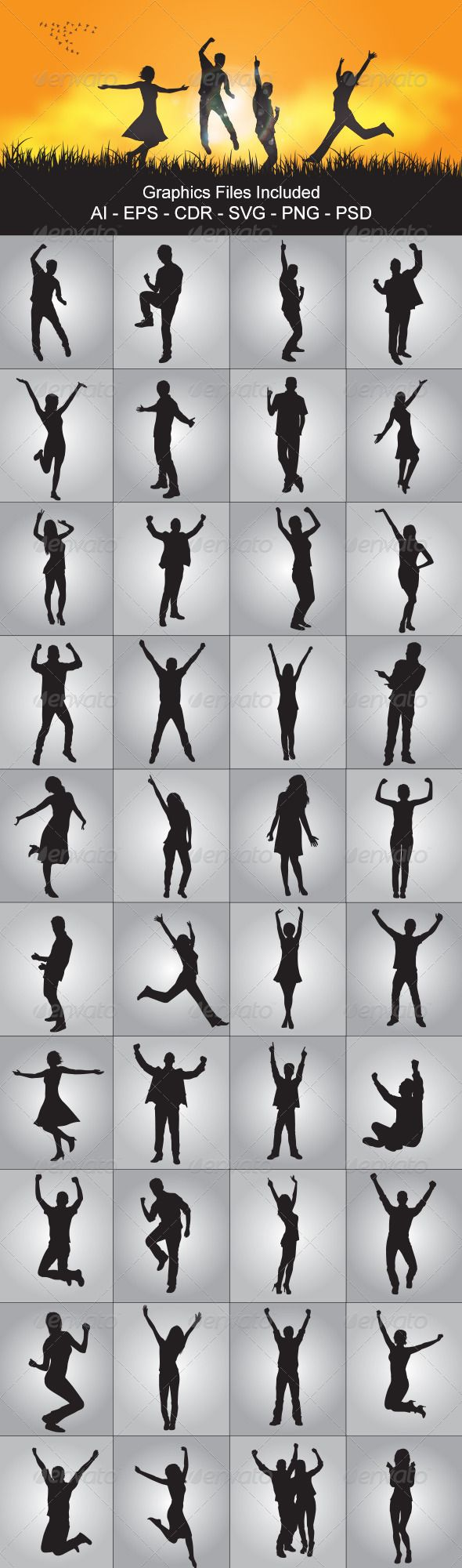 Happy People Silhouettes - People Characters