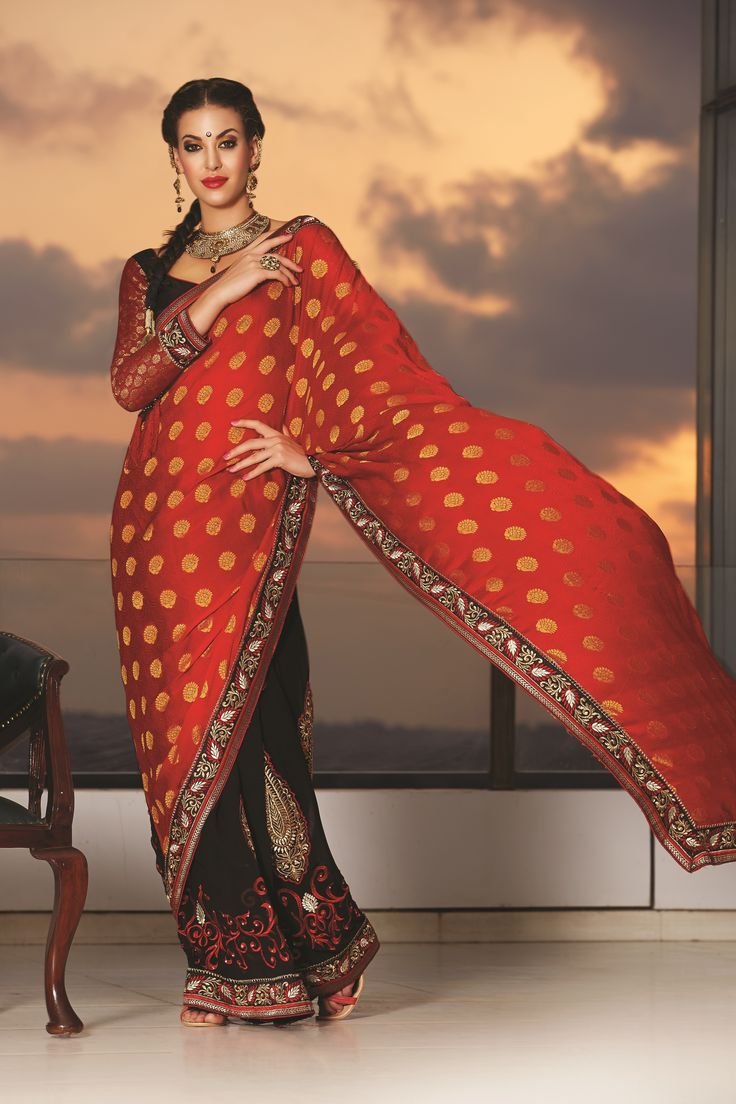 Raksha Bandhan is Here! Get your special offers. ORANGE & BLACK DESIGNER SAREE.. Feel the Difference with this gorgeous Saree.  MRP Cost- 2200.00 Click To Shop- http://rekhamaniyar.in/Product/Orange-Black-Designer-Saree-163