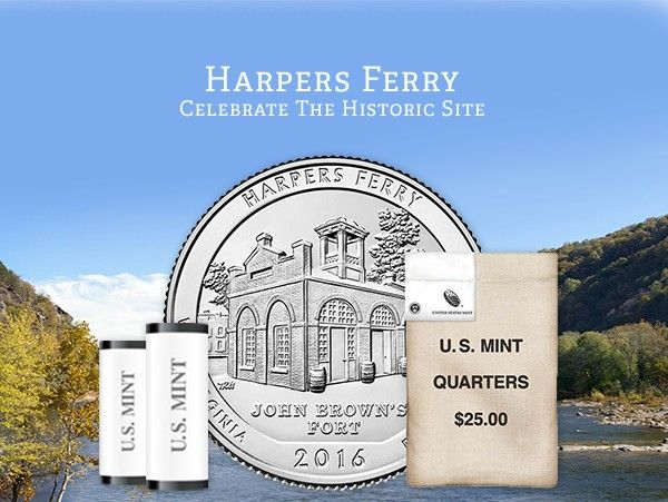 """Designed by Thomas Hipschen and engraved by Phebe Hemphill, this coin features John Brown's Fort, the site of John Brown's last stand during his raid on the Harpers Ferry Armory. Inscriptions are """"HARPERS FERRY,"""" """"WEST VIRGINIA,"""" """"JOHN BROWN'S FORT,"""" """"2016"""" and """"E PLURIBUS UNUM."""""""