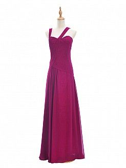 Dark Magenta Sweetheart Chiffon Bridesmaid Dress with Asymmetrical Straps - AUD AU$89.45