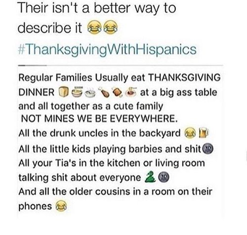 this is with black people too. everybody be in different rooms and then link back up when it's time to cut the pie and disperse again to go into a food coma