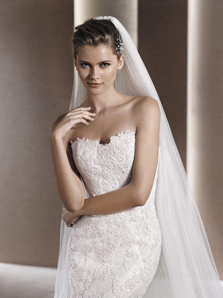 Beautiful La Sposa Wedding Dress- White lace sweetheart neckline - Clean and Classic Bridal Beauty. WHERE TO GET IT - House of Silk Bridal Studio