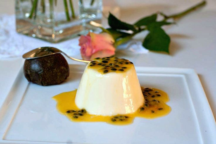 Vanilla Panna Cotta with Passion Fruit Coulis http://www.manusmenu.com/vanilla-panna-cotta-with-passion-fruit-coulis