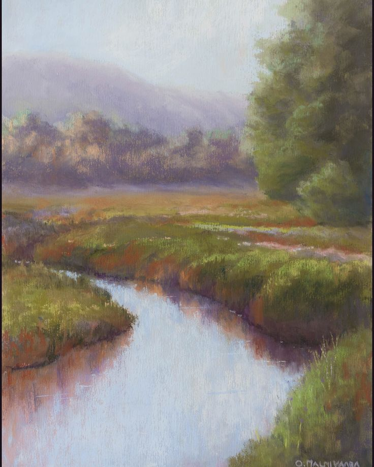 Northern Creek by Olli Malmivaara, Soft pastel on sanded paper 30 x 23 cm