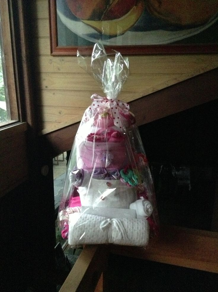 Completed & wrapped nappy cake #babyshower #baby #nappycake