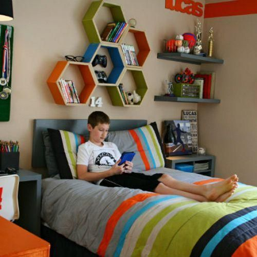 Decorate a cool teen boy bedroom/study area for under $300.  I like the honeycomb shelves.