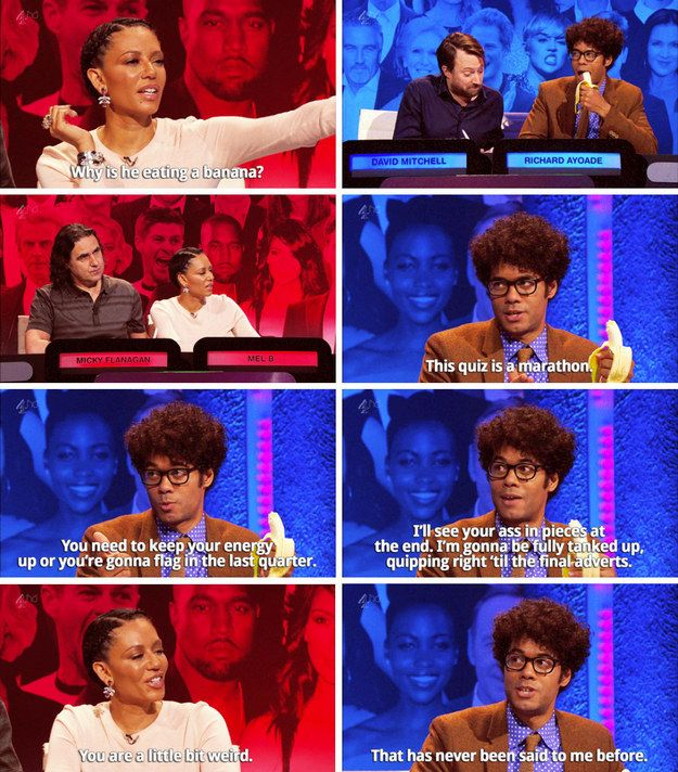 "When Mel B was completely baffled by the existence of Richard Ayoade. | 27 Times ""The Big Fat Quiz"" Was The Most Hilarious Quiz Show On TV"