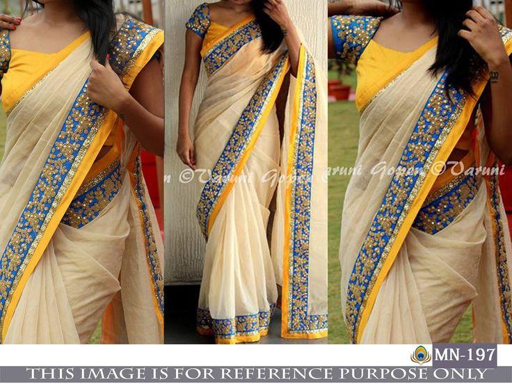 Price @1600.00 INR  Colour : Cream, Yellow & Blue        Fabric : Saree Chanderi Silk & Blouse Bangalori Silk       Work : Dori Work With Sequence