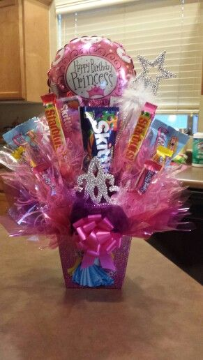 Princess birthday candy bouquet for little girl