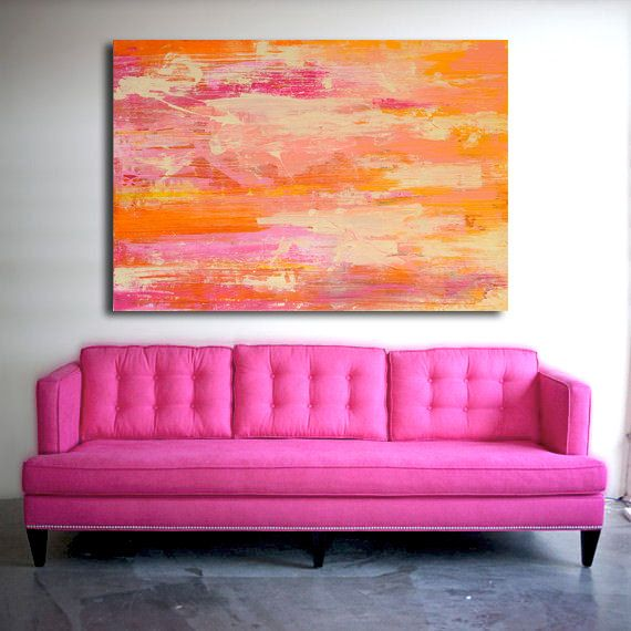 love this hot pink tufted vintage looking sofa