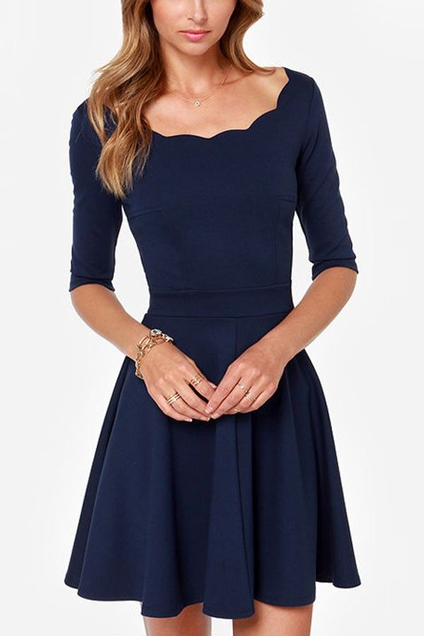 Solid Color Scalloped Trim Half Sleeve Skater Dress @ Casual Dresses,Women…
