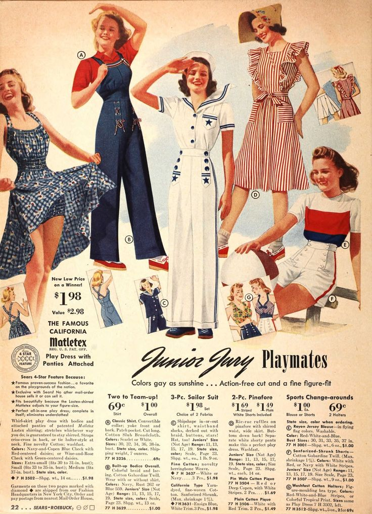 Tuppence Ha'penny: 1940s Fashions in Red, White & Blue Love the dungarees & tea dresses