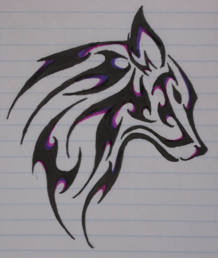 Wolf Tattoo, All My Favorite Colors.... Purple,Blue,and Black.