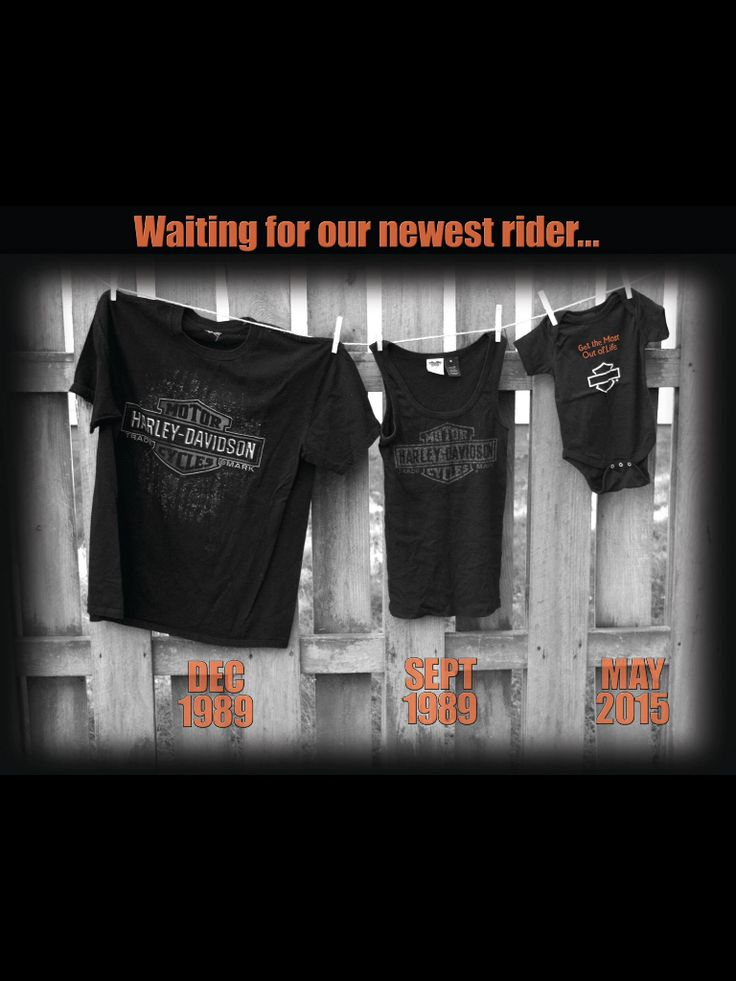 Harley Davidson motorcycle baby announcement