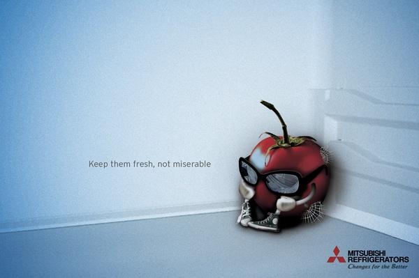 Keeping food fresh - Mitsubishi Electric print ad