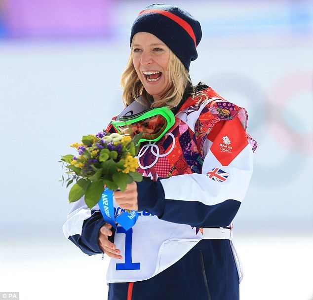 Delight: Jenny Jones celebrates after winning Bronze in the Women's Snowboard Slopestyle Final during the 2014 Sochi Olympic Games
