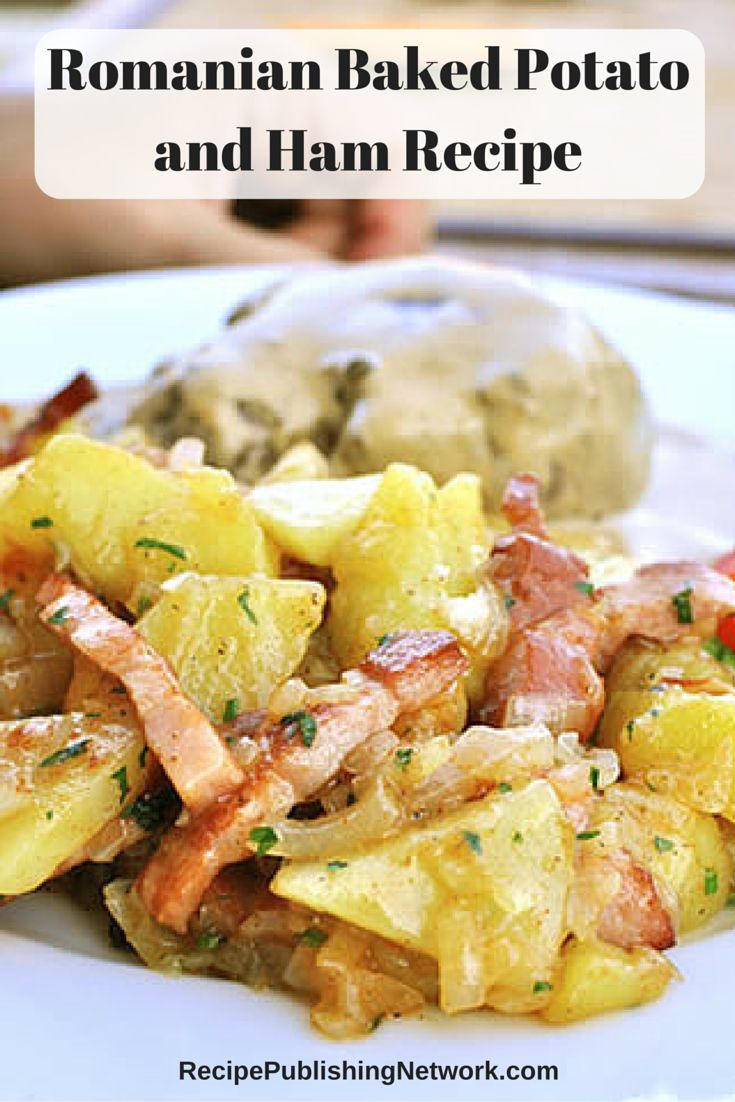 This Romanian recipe is a nice dish to serve for your Easter feast it has both ham and potatoes so it is kind of like hash only with ham. It makes a wonderful side dish with the nice crispy potatoes.