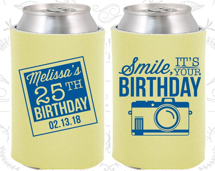25th Birthday, 25th Birthday Party, Smile, its your birthday, vintage camera, Birthday Can Coolers, Birthday Coolies (20053)