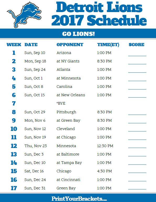 2017 Detroit Lions Football Schedule https://www.fanprint.com/licenses/detroit-lions?ref=5750