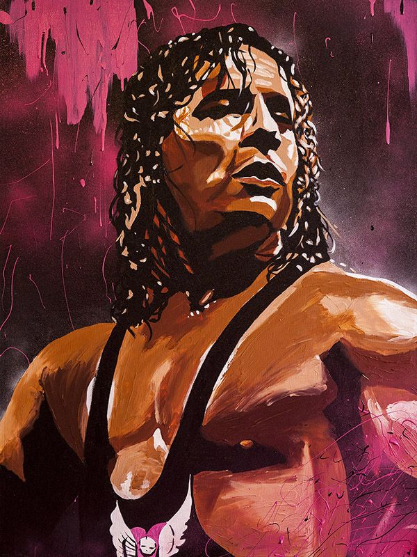 "Bret Hart l Acrylic, spray and oil on 30"" x 40"" canvas"