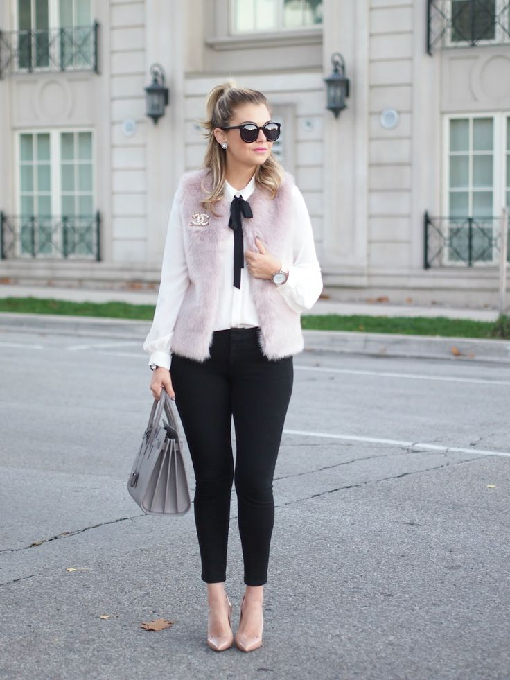 Pink & Fluffy vest - Topshop, Black tie bow blouse - Express, Pants - Gap, & Shoes - Christian Louboutin: