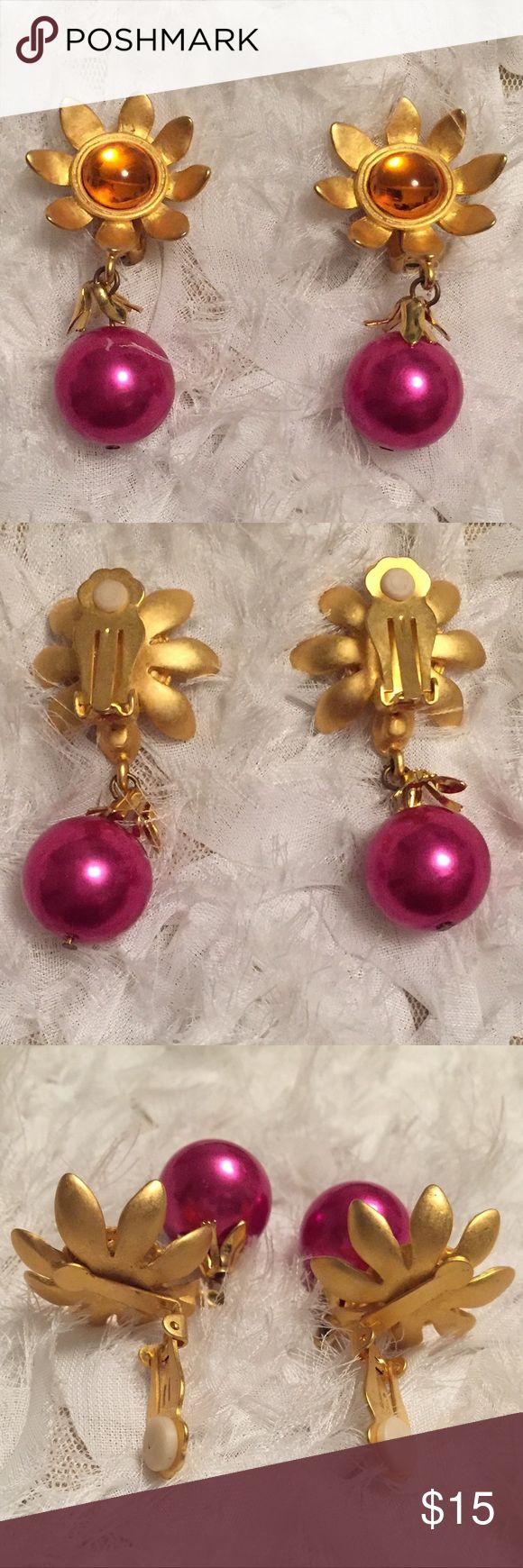 "Flower Drop Earrings Super cute matte gold drop clip on earrings, orange center surrounded by matte gold flower, metallic hot pink drop, 2"" length, gently used in good condition, slight scratches on metallic pink bauble Nordstrom Jewelry Earrings"