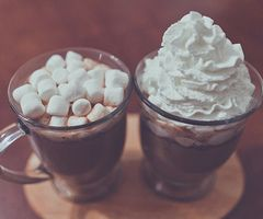 yummy hot chocolate with marshmellows and whipped-cream