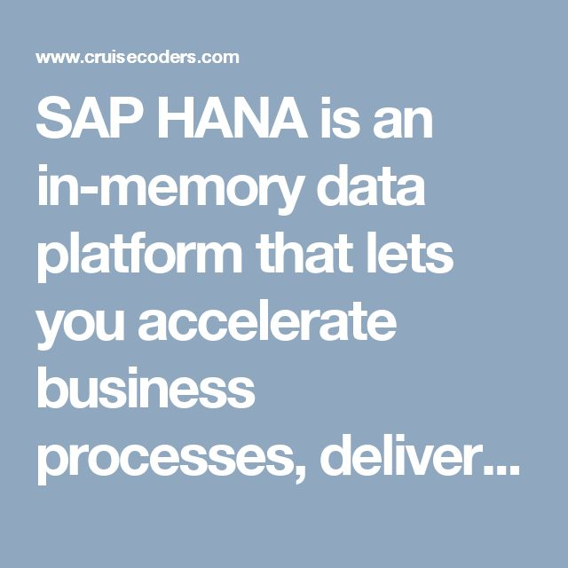 SAP HANA is an in-memory data platform that lets you accelerate business processes, deliver more business intelligence, and simplify your IT environment. By providing the foundation for all your data needs, SAP HANA removes the burden of maintaining separate legacy systems and siloed data, so you can run live and make better business decisions in the new digital economy.