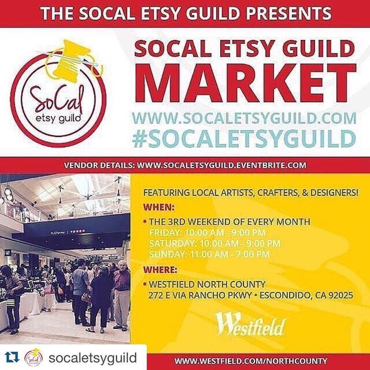 We will be at the North County Fair Mall on Sunday. Come say hello!  #mariquitascloset  #handmade #repostwith @repostapp.  THIS WEEKEND Join us for the #SoCalEtsyGuildMarket at the @westfieldnorthcounty in #Escondido March 18-20 !!! Find us here here the 3rd weekend of every month! Featuring local #artists #crafters & #designers @etsy #handmade  Thanks @streetrebirth for the awesome video!  For all vendor details and to purchase a vendor space go to http://ift.tt/1Ie8AgT  One Two or Three…