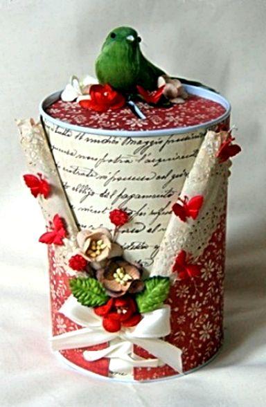 Tirelire ou boite ronde de style shabby tutoriel 10 objets scrapp s pi - Tirelire boite de conserve ...