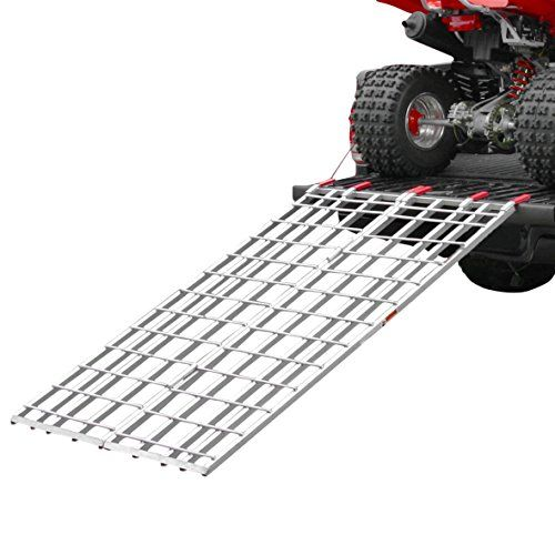 "Rage Powersports IBF-7144 Aluminum Bi-Fold ATV Loading Ramp (71' x 44')  Bi-Fold ramp for loading ATV and off-road vehicles weighing up to 1,200 lbs. into pickup truck beds or onto trailers  Folds in the center to a compact 22""W x 3""H for storage  Serrated rungs to increase ATV traction during loading  Includes (2) safety straps to prevent ramp kick-outs  Heavy duty aluminum construction"