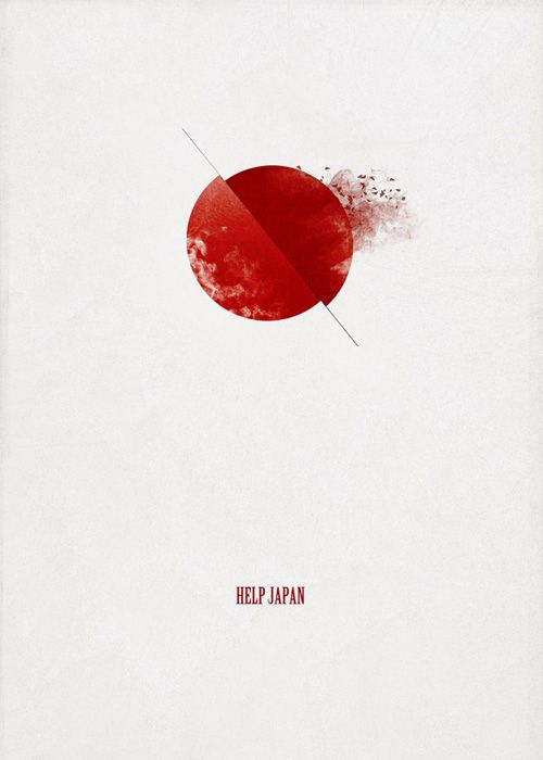 "Source: Leukocyt - ""Help Japan"". It looks a little violent and disturbing, more explicit because of the debris on the side which looks like a blood splatter because of the colour. Perhaps a little too unsubtle, but effective nonetheless."