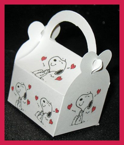 Snoopy Valentine Favor Boxes Snoopy Valentine by tinygiftboxes