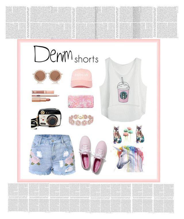 """denim short"" by littlelook on Polyvore featuring Betsey Johnson, House of Holland, Dolce Vita, BaubleBar, Vera Bradley, Keds, jeanshorts, denimshorts and cutoffs"