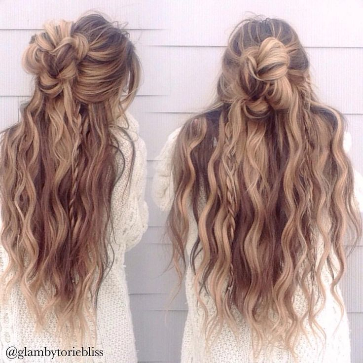 Messy half up braid bun