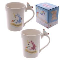 £6.50 - Unicorn Figure Mug - With a cute unicorn perched on top of the handle these ceramic mugs would make any girls day.