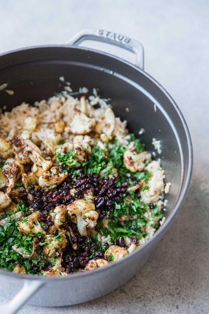 Rice Pilaf with Garam Masala Roasted Cauliflower + Balsamic Currants - The Green Life