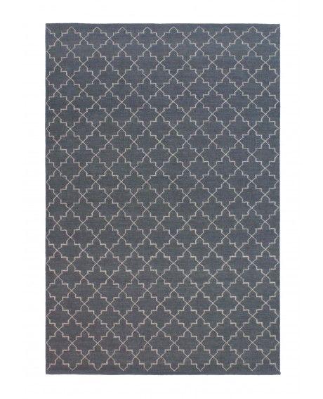 aza Grey Moroccan Lattice Wool Rug