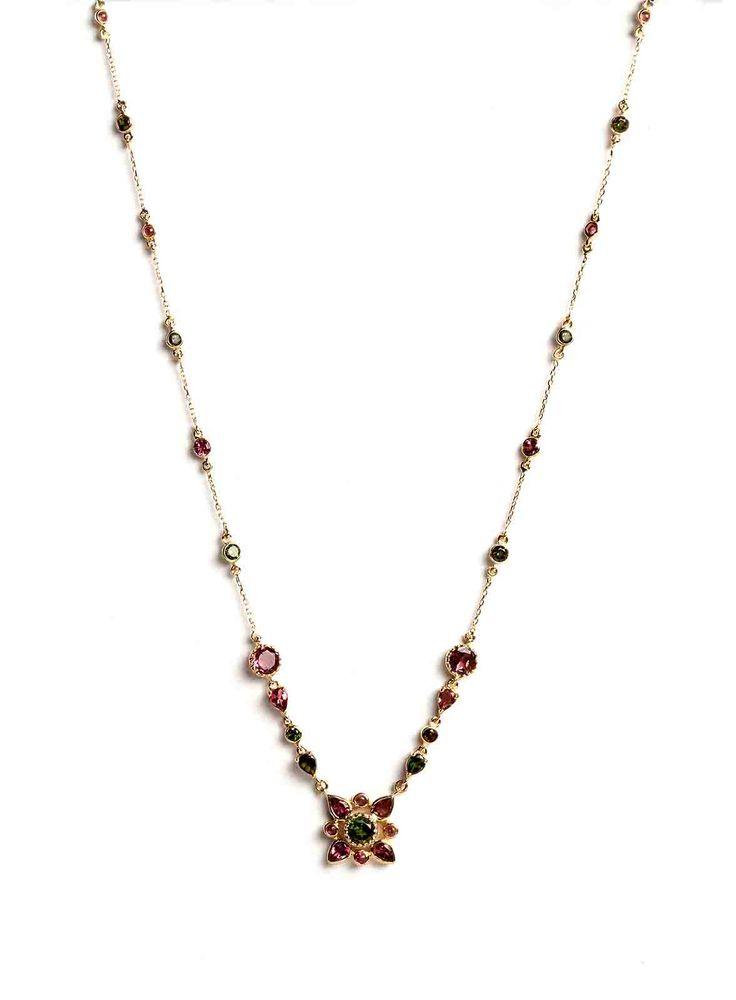 Hania Kuzbari Arabesque Collection necklace of 18K yellow gold, pink and green tourmaline // http://haniakuzbari.com/arabesque.php