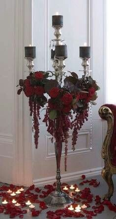 Jamie Aston Candelabra With Red Roses, Red Amaranthus And Black Candles    Gorgeous! We Have Our Own Black Candle Stand And Could Make This More  Menacing!