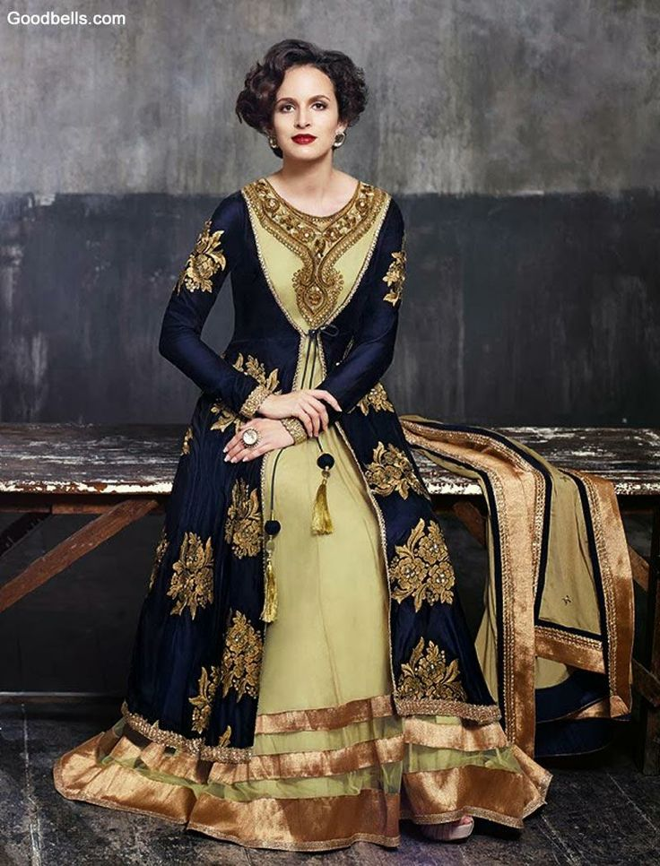 Salwar Kameez:R21P835   Designer Beige Salwar Kameez with Blue Overcoat