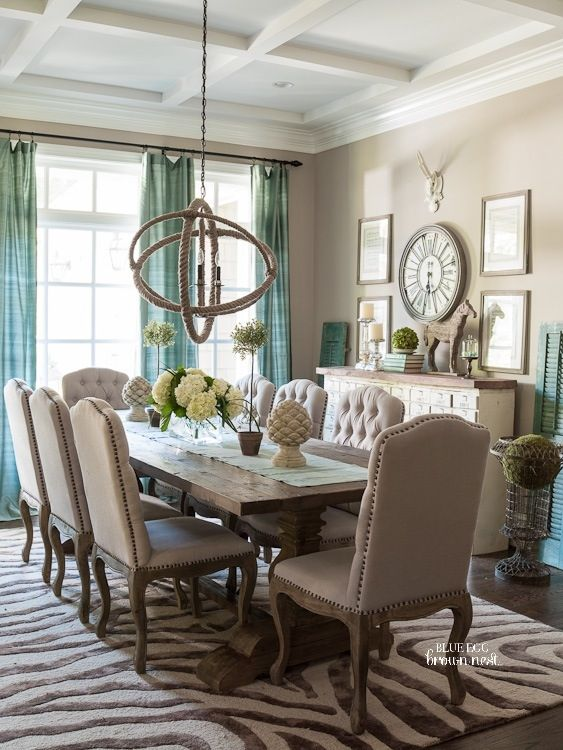 Dining Room Decor Ideas Transitional Eclectic Tan And Turquoise In The Washington Dc Home Of Christen Bensten Blue Egg Brown Nest Photo