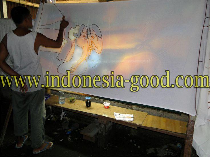 Pareo batik Gauguin peint a la main.