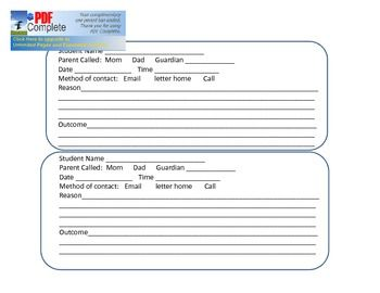 Parent Contact Form for classroom