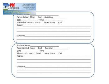 Parent Contact Form for classroom