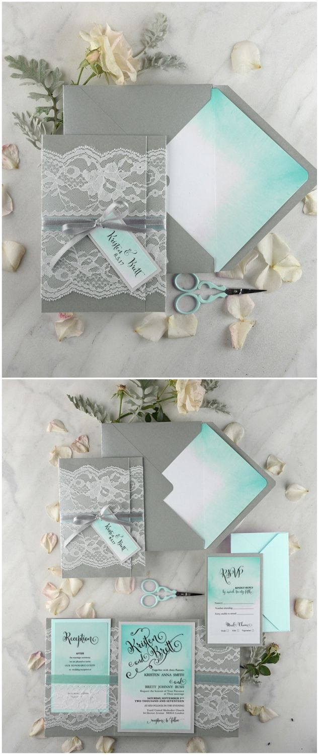 ombre watercolor tiffany blue wedding invitations with lace