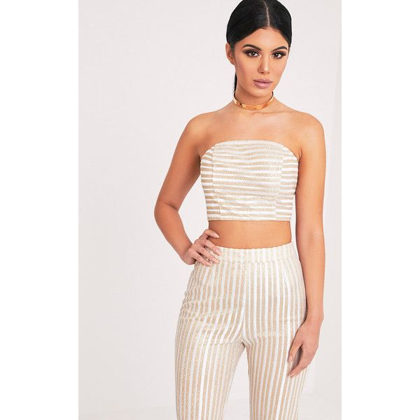 Lashelle White Sparkle Stripe Bandeau Top ($11) ❤ liked on Polyvore featuring tops, white, white bandeau top, bandeau top, white top, sparkly tops and white striped top