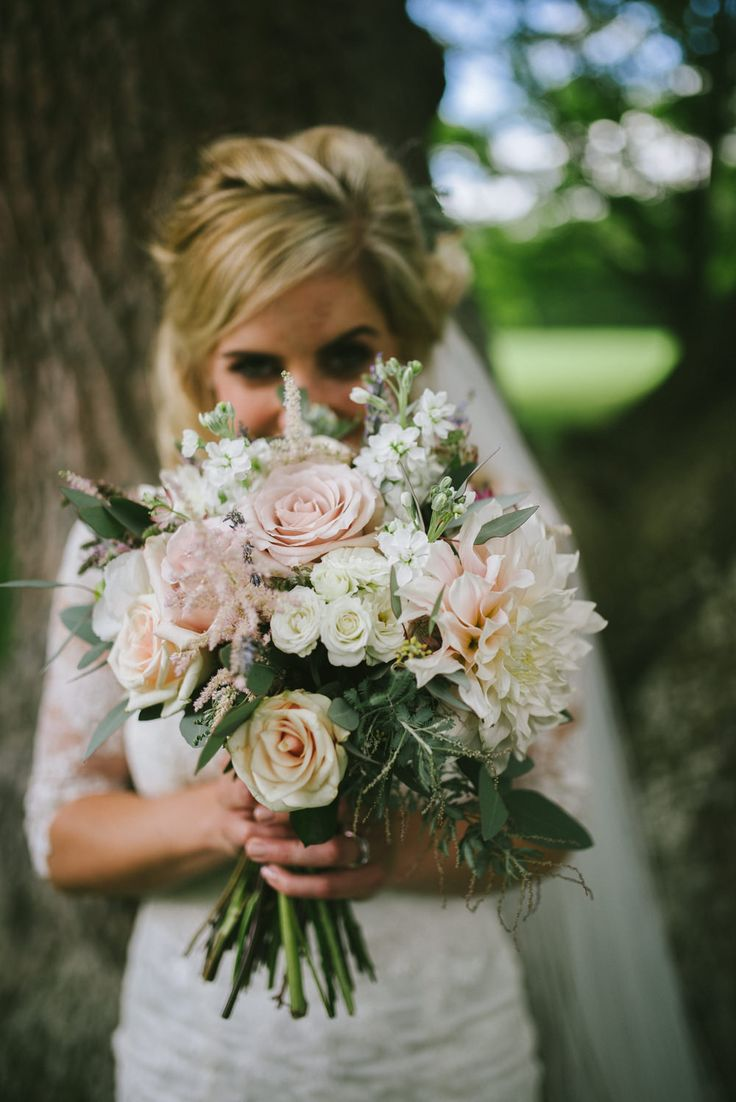 Baby Pink & White Romantic Bridal Bouquet | Classic Wedding at Notley Abbey Buckinghamshire | Maggie Sottero Ascher Gown | Ed Godden Photography | http://www.rockmywedding.co.uk/Faye-stuart/