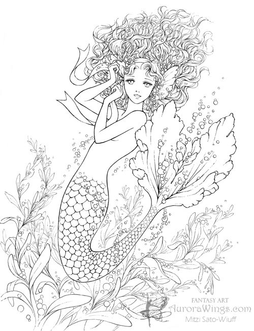 aurora wings fantasy art of mitzi pink ribbon mermaid lines find this pin and more on adult coloring pages
