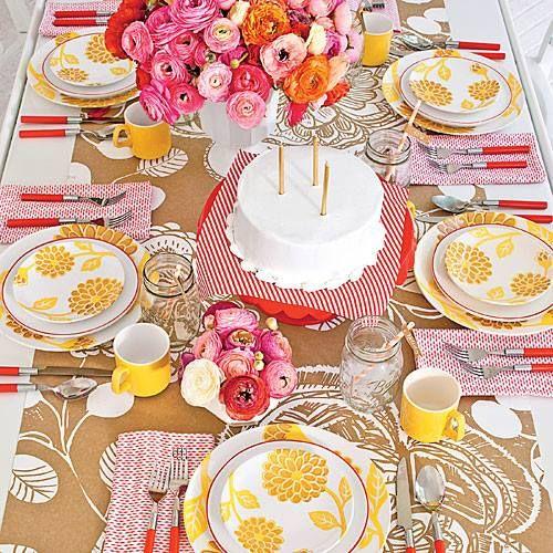 Bright, colorful tablescape